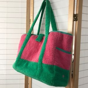 Lily Pulitzer pink green terry large beach bag XL